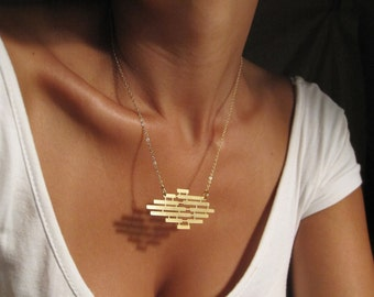 Artisan Necklace, Geometric Pendant, 24K Gold Necklace, Bar Necklace, Statement Necklace, Everyday Necklace, Geometric Charm Necklace