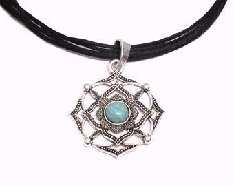 Mandala Turquoise Necklace Black Silk Cord Necklace Mandala Pendant  Necklace Flower Mandala Turquoise Necklace Turquoise Boho Necklace