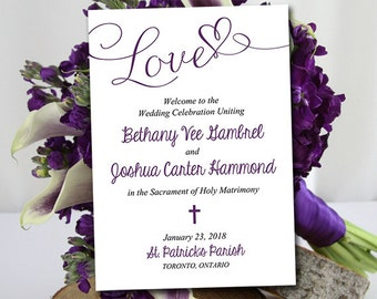 "Catholic Wedding Program Template - Printable Fold Over Ceremony Program Download ""Love"" Script Order of Ceremony - Purple Eggplant Wedding"