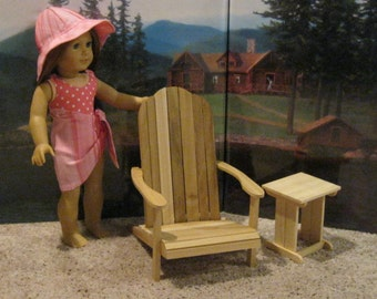 "Wooden Adirondack Chair & Side Table For 18"" Dolls Furniture American Girl"