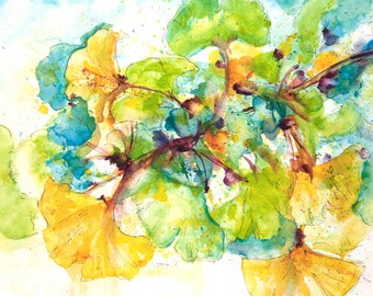 Expressive Watercolor of Gingko Leaves Painting - Watercolor Nature Paintings - 8x10 with Mat for 11x14 Frame - Gingko Paintings Watercolor