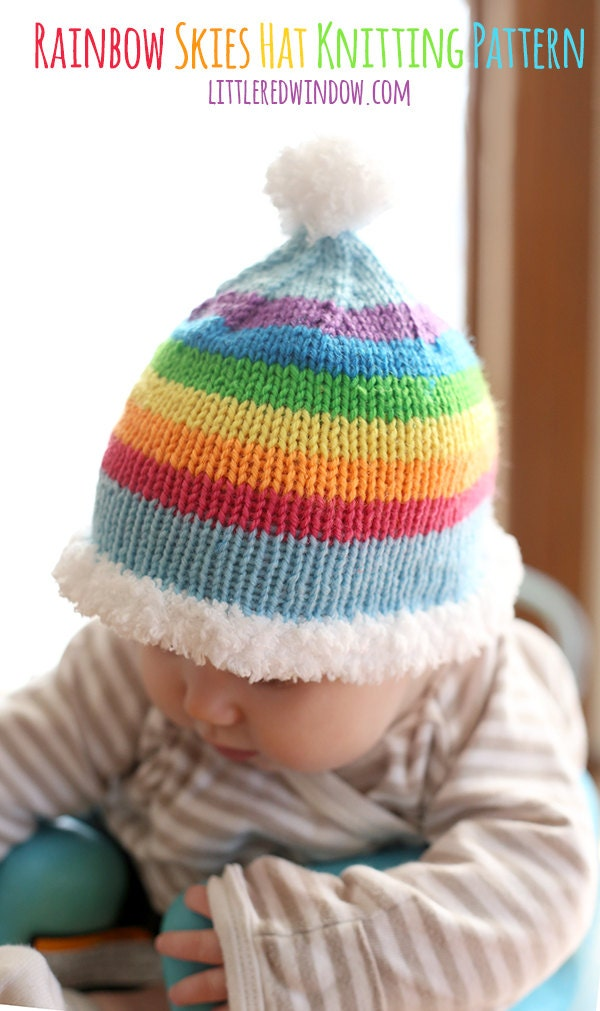 Rainbow Skies Baby Hat KNITTING PATTERN knit baby hat