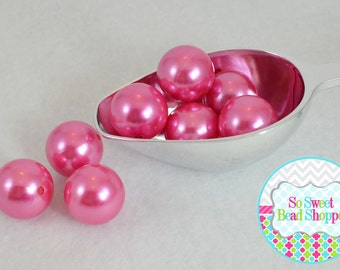 22mm Chunky Acrylic Pearls 8ct, Hot Pink, Gumball Beads, Round