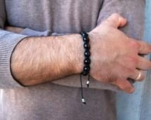 Obsidian Men's Bracelet gemstone. Golden Black Obsidian Bracelet Man. Against depression and Detoxification Stone,Healing Crystals