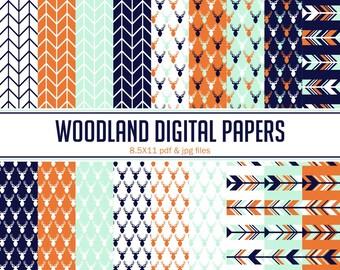 Instant Download Burnt Orange, Mint, Navy Woodland Digital papers ( PDW002 )