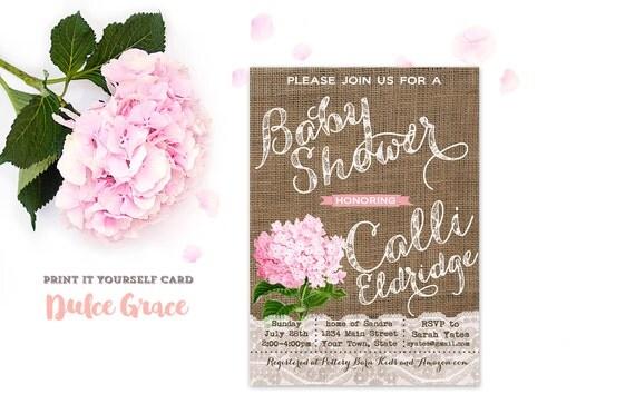 burlap baby shower invitations, shabby style baby girl shower invitation, pink hydrangea invite, printable invitation, hortensia rosada