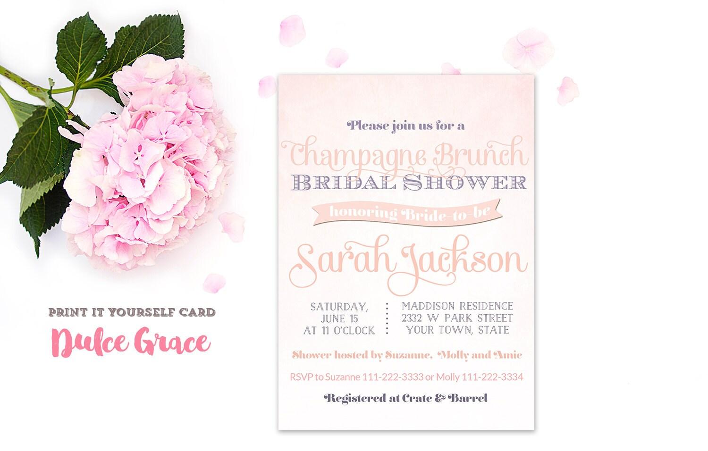 Champagne bridal shower invitation champagne brunch invite for Champagne brunch bridal shower