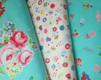 Lecien Flower Sugar Holiday, Aqua and White, Fat Quarter Bundle of 3, Japanese Fabric
