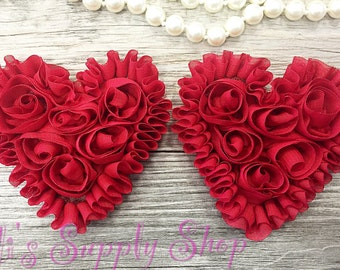 Set of 2 - Deep Red Shabby Chiffon Heart - Valentines hearts - Valentine's day chiffon heart- chiffon heart - Shabby Chic Heart Appliqué