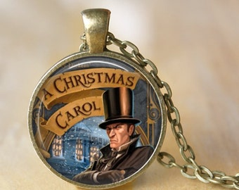 A CHRISTMAS CAROL Pendant Necklace - Charles Dickens - pendant necklace christmas necklace Jewelry Christmas Gift A Christmas Story Jewelry