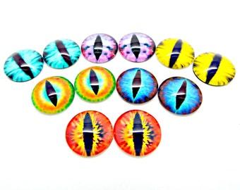 15mm Glass Eyes, 12 Eye Cabochons, Monster Eyes, Dragon Eyes Cabs, Photo Cabochons, Glass Cabochons, Mixed Colors, Craft Supplies, UK Seller
