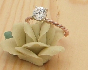 Rose gold twist Engagement Ring Recycled14K Gold set with White Topaz