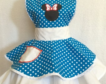 Minnie Mouse Apron/Costume, Retro Dress/Apron, Retro Apron, Circle Apron