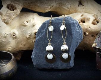 Mashan white jade beads and sequin white enamel bronze earrings