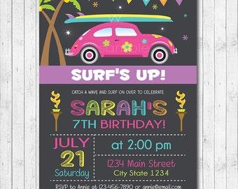 Surfing Birthday Invitation, Beach Party Invite, Surf Invite, Surf Invitation, Summer party, Luau invite, Girl Invitation,Printable