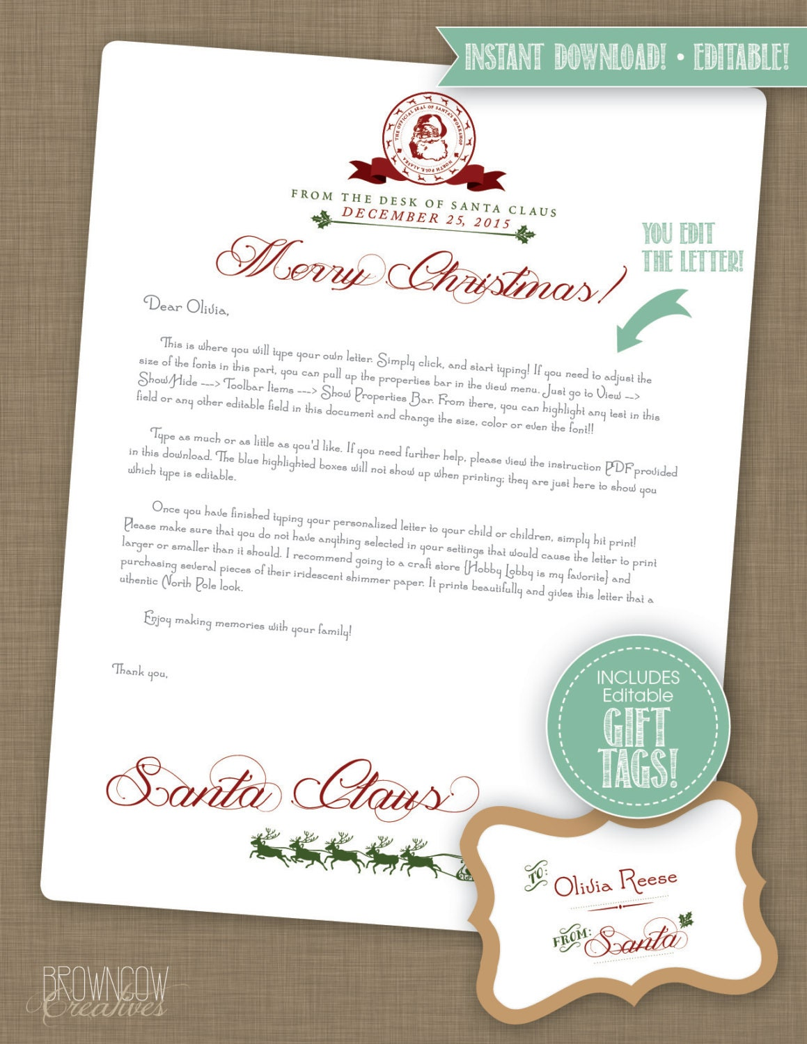 editable instant download letter from santa claus      santa