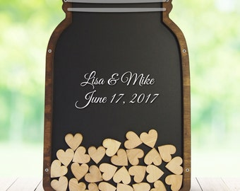 Mason Jar Guest Book, Guest Book Alternative, Drop Box Guest Book, Shadow Box Guestbook, Quinceañera - Coosa Designs