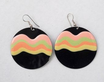 Vintage Black & Neon Circle Dangle Earrings
