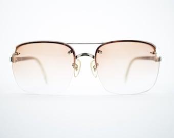 Vintage Sunglasses | Gold Aviator Sunglasses | Oversize Peach Gradient Lenses | 1970s Sunglasses | Vintage Deadstock - October II Yellow