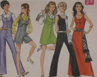 Butterick 5558 Pattern Misses' Jumpsuit, Jumper & Dress Mini Maxi Size 12 Uncut Vintage 1960's