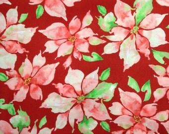 One Half Yard of Fabric Material - Christmas Poinsettias