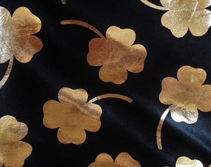Black Lycra with Gold Foiled Metallic Clovers Performance Dance Fabric - 2 Way Stretch