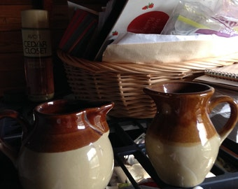 2 Vintage rare/unique creamer pouring bowls/jugs in cream & tan color