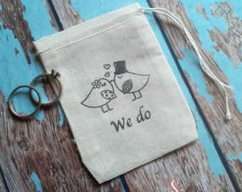We do wedding birds ring bag. Ring pillow alternative, ring bearer accessory, ring warming ceremony.