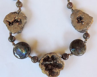 Necklace of gems: electrolytic gems, labradorite and pyrite.
