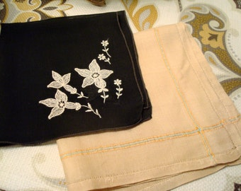 Vintage Black White & Gold, Peach, Blue Stitched Pair of Handkerchiefs - Wonderful Vintage Fabric!!