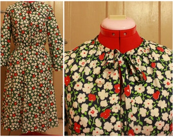 70s Polyester Schoolmarm/Secretary Dress Size M/L