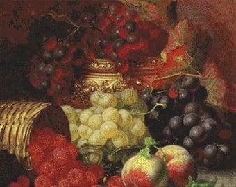 Black Grapes in a Gilt Bowl PDF Cross Stitch Pattern