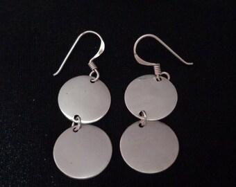 Vintage Sterling Silver Dangling Disk Earrings Dangling Disk Earrings