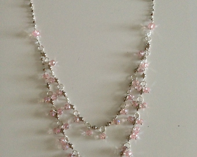 hand beaded pink necklace