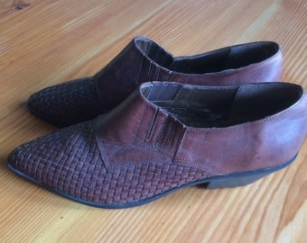 Brown Brazillian Woven Vintage Leather Woven Brooke Shoes Size 8 Hipster