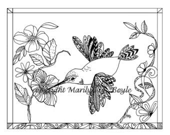 ADULT COLORING PAGE: Hummingbird, nature, garden, Zentangle, doodle, flowers, certificate size, digital download