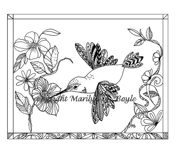 ADULT COLORING PAGE: Hummingbird nature garden Zentangle