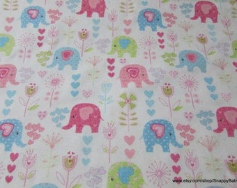 Flannel Fabric - Decorated Elephants on White - 1 yard - 100% Cotton Flannel