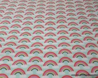 Flannel Fabric - Rainbows - 1 yard - 100% Cotton Flannel