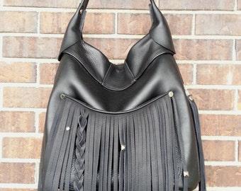 Leather Tribal Shoulder Bag - Black Leather Shoulder Bag -  Handmade