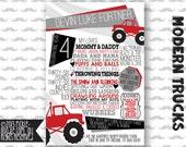 Monster Truck Birthday / Monster Truck Party / Modern Truck Birthday Party / Birthday Chalkboard / Birthday Infographic / Monster Jam Party