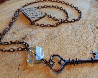 Rustic Key with Unique Crystal Dangle on Pewter Chain