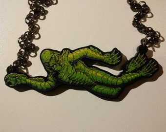 Beautiful Creature from the Black Lagoon necklace - now with more vibrant print!