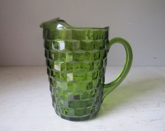 Vintage Green Glass Fostoria Pitcher, American Whithall Glass, Cubist Pitcher