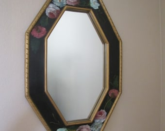 Vintage Mirror, Tole Floral Painting,  Hand Painted Mirror