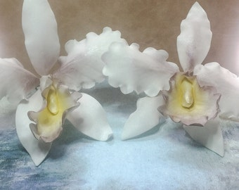 Cattleya Orchids ~ Gum Paste Flowers ~ Sugar Flowers ~ Sugar Orchids ~ Orchid wedding cake topper
