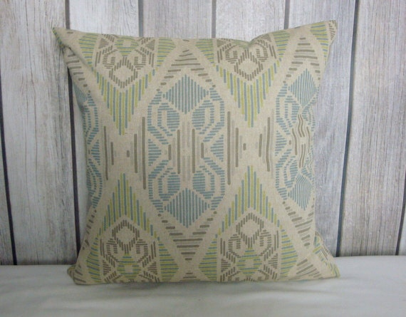 Throw Pillow. Aztec Pillow. Pillow Cover. Green Pillow. Beige Pillow. Blue Pillow. Grey Pillow