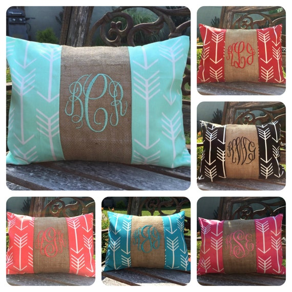 Lumbar Monogram Pillow. Pillow Cover. Arrow Pillow. Monigram Pillow. Throw Pillow. Lumbar Pillow