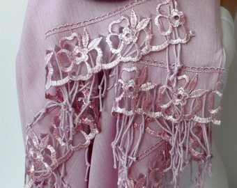 Pashmina in Pastel Pink Scarfs shawls with French Lace Fashion shawl Bridesmaid shawls Elegance Wedding Bridal Shawls pink  pashmina shawls
