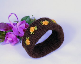 Bracelet Brown with embroidery, cuff, gift for women, embroidery art